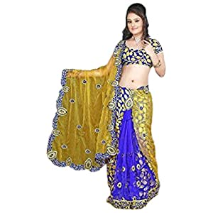 Blue Net and Brasso Faux Georgette Lehenga Style Saree with Blouse
