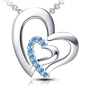 Vorra Fashion Platinum Plated .925 Silver Pendant For Women (White)