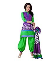 Sonal Trendz Green & Purple Color Pure Cotton Printed Suit.