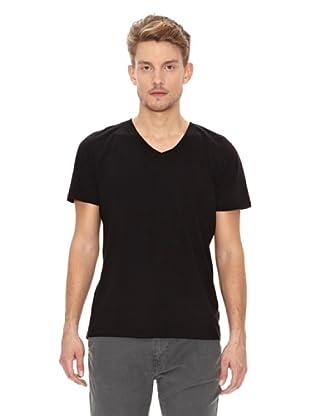 Nudie Jeans Camiseta Cuello Pico (Negro)