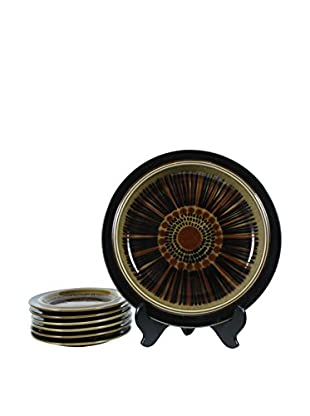 1960s 7-Piece Kosmos Platter & Dessert Plates Set, Brown/Black