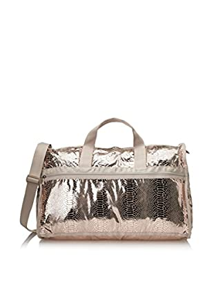 LeSportsac Women's Large Weekender Duffle Bag, Rose Gold Foil Snake