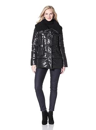 Via Spiga Women's Down Coat with Knit Collar (Black)