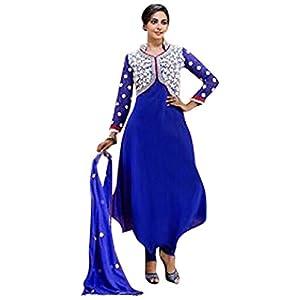 Rukulpreet Singh Faux Georgette Blue Anarkali Suit