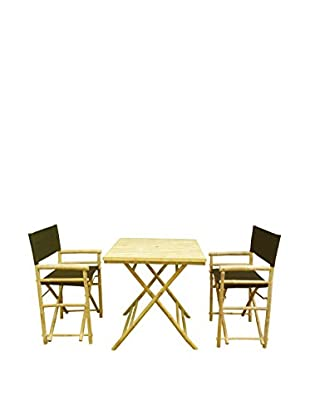 ZEW, Inc. Square Table & Director Chair Set, Black