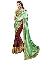 Inddus Women Green & Burgundy H & H Bridal Saree