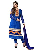 Sonal Trendz Blue Color Embroidery Semi-Stitched Suit.