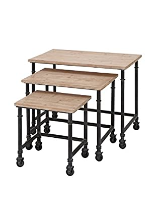 Set of 3 Nest Tables, Brown