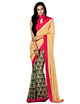 Riti Riwaz Beige & Pink saree with unstitched blouse RBL104
