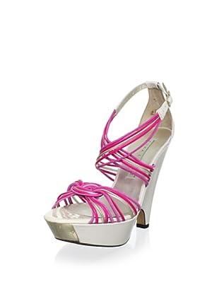 Pura López Women's Strappy Modified Wedge Sandal (White/Pink)