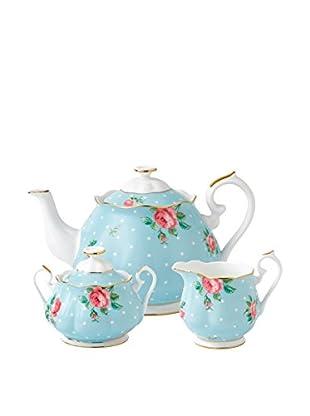 Royal Albert New Country Roses Polka Blue 3-Piece Tea Set