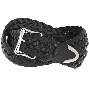J & M Davidson New Envelope Buckle Tip End Plaited Belt 32mm: Black
