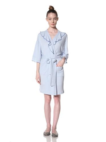 Aegean Apparel Women's Short Solid Knit Gauze Ruffle Robe (Light Blue)