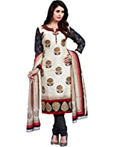Pagli cream Dupion Floral Print Straight Suit for women - XX-Large