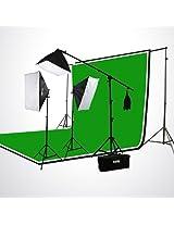 ePhoto H9004SB-69BWG Photography Studio Video Lighting Chromakey Screen 3 Muslin Backdrops Lighting Kit Background Support Kit-Green/Black/White