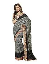 Brijraj Black White Bhagalpuri Silk Beautiful Printed Saree With Unstitch Blouse