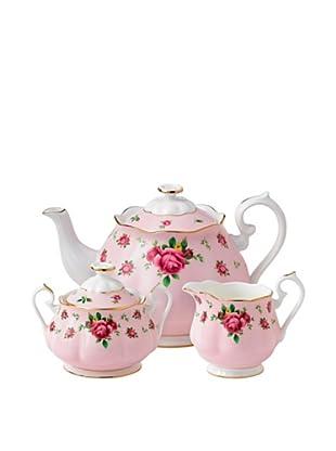 Royal Albert New Country Roses Pink 3-Piece Set (Teapot, Sugar and Creamer)