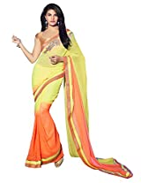 Yelloe and Orange Georgette Saree with Zari work , Embroidery and Lace Border