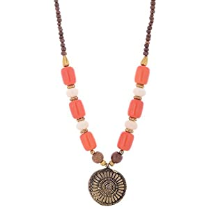 The Crazy Neck White And Orange Beads Neck Piece Necklace