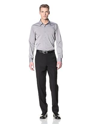 Corbin Men's Wool Stretch Flat-Front Trousers (Black)