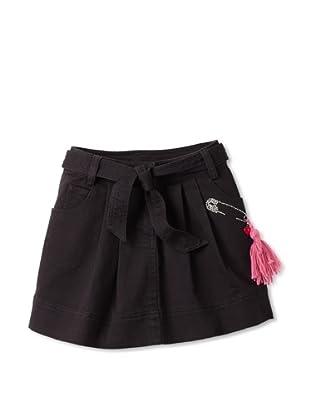 Sonia Rykiel Girl's Twill Pleated Skirt with Rhinestone Pin (Black)