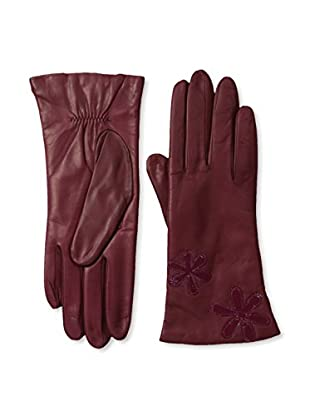 Portolano Women's Leather Gloves with Patent Floral Applique (Clover/Polished Garnet)