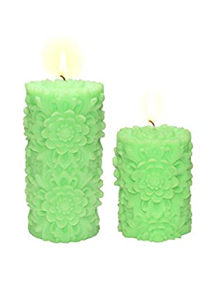 Volcanica Set of 2 Lime Green Dendritic Pillar Candles