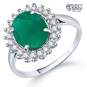 Rings - Sukkhi Rhodium plated CZ Studded Emerald Ring