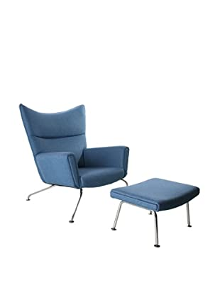 Manhattan Living Wing Chair and Ottoman Set, Blue