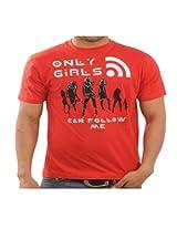 Funktees Men's Round Neck Cotton T-Shirt Red Medium