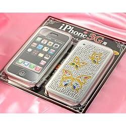【SoftBank 専用】 iPhone専用 液晶保護フィルム&ジュエリーストーンステッカー バタフライ bigstar
