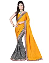 B Fashion Women's Chiffon printed Saree (BF1001-A_YELLOW)