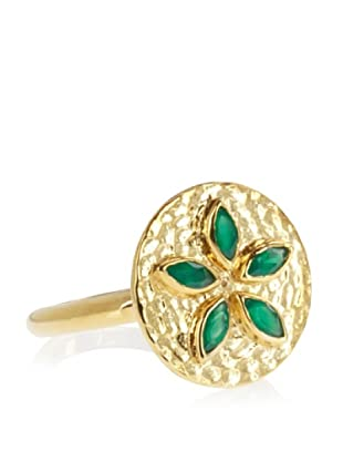 Eddera Jewelry 18K Gold-Plated Livia Green Onyx Ring