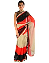 Florence Women's Georgette Saree with Blouse Piece (Multi-Coloured)