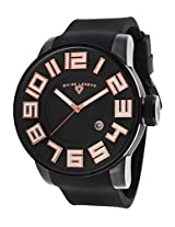 Men'S Airbourne Black Dial And Silicone Strap Rose-Tone Accents (30427-Bb-01-Ra)