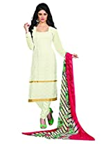 Khushali Presents Embroidered Georgette Dress Material(Cream)