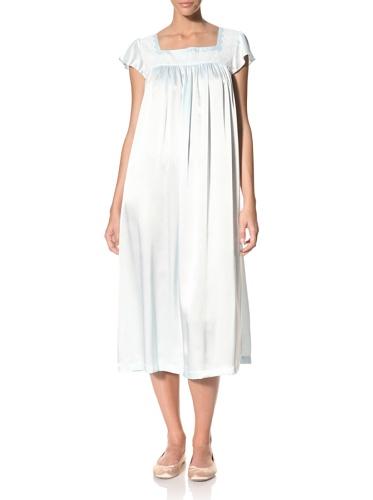 Oscar de la Renta Women's Silky Charmeuse Long Gown (Blue Brook)