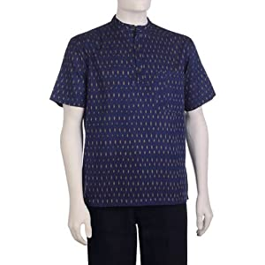 Men's Cotton Ikat Super Short Kurta|Navy|36