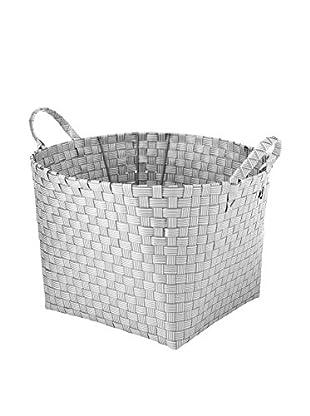 Whitmor Striped Resin Weave Basket, White