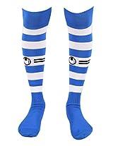 UHLSPORT KNEE HIGH FULL SIZE FOOTBALL STOCKING BLUE / WHITE 02