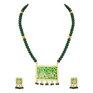 Voylla Shimmering Geometric Style Thewa Art Necklace Set
