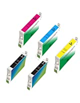 Amsahr T0631 Remanufactured Replacement Epson Ink Cartridges for Select Printers/Faxes - 2 Black/3 Color