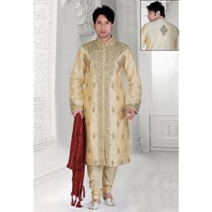 Beige Dupion Art Silk Readymade Sherwani Churidar