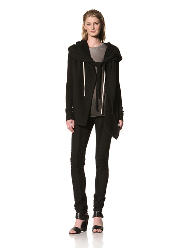 RICK OWENS Women's Hooded Wrap Jacket (Black)