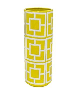 Three Hands Skinny Geometric Ceramic Vase, Yellow/White