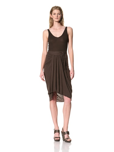 RICK OWENS Women's Knee Length Skirt with Front Gathered Panel (Bitter)