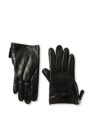 Portolano Women's Zippered Leather Gloves (Black)