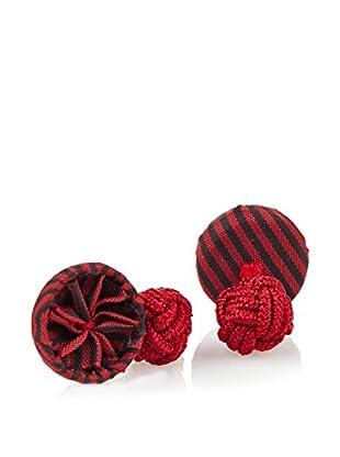 J. McLaughlin Men's Red & Black Stripe Rosette Cufflinks