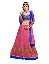Khoobee Presents Women's Multi Embroidered Semi-Stitched Lahenga With UnStitched Blouse Piece.(Pink,Blue)
