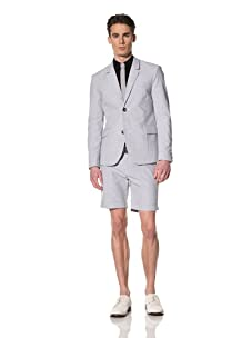 Brent Wilson The Basics Men's 2-Button Cropped Jacket (Navy/White Stripe)